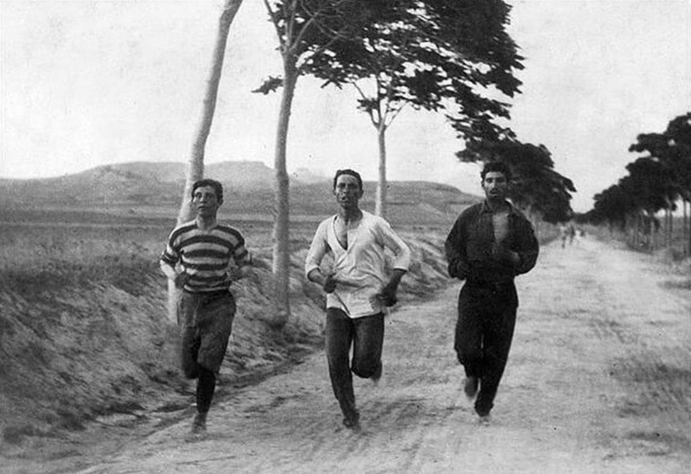 Marathon runners training for the Olympics in Athens (1896)