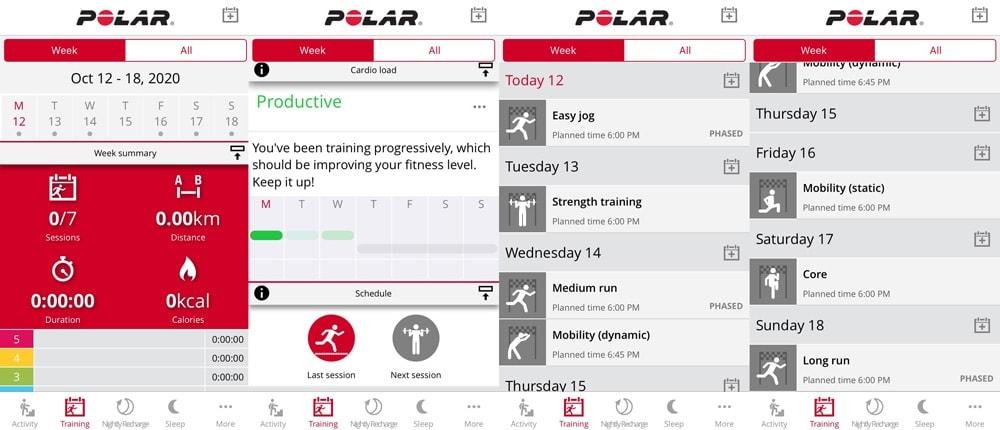Приложение Polar Flow: вкладка Training